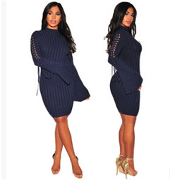 Wholesale Vertical Striped Dress Women - Women Bandage Bodycon Dresses Autumn Spring Flare Sleeve Lace up Dress Vertical Striped Skinny CLothes