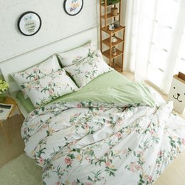 Wholesale Floral Duvet King - WINLIFE Rustic Floral Bedding Set 100% Cotton Duvet Cover Set American Country Style Bedding Collections Flowers Print Bed Sets