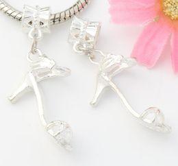 Wholesale High Heel Sandal Wholesale - 60pcs lot Silver Plated 3D Fashion High Heels Sandals Shoe Big Hole Beads Dangle Fit European Charm Bracelets 39.8x8.18mm B281