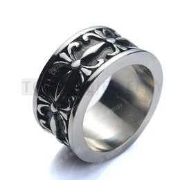 Wholesale Stainless Ring Fleur Lis - Teboer Jewelry 3pcs Fleur De Lis Ring Stainless Steel Vintage Black Silver MER106
