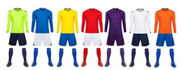 Wholesale Youth Cheap Sports Jerseys - Adult Blank Soccer Jersey Kits Cheap Youth Diy Solid Color Soccer Jersey Uniforms Youth Long Sheeve Football Trainning Sport Kits Size S-4XL