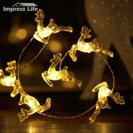 Wholesale Outdoor Deer Decoration - Wholesale- Christmas Decoration Reindeer LED Fairy String Lights Trinkets Elk Deer 10 ft Battery Dimmer Indoor Outdoor Home Party Bedroom