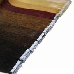 Wholesale Tape Hair Extensions Sets - 50g set PU Tape Hair Skin Weft Human Hair Extensions Straight 20pcs set Tapes #1 #1b #2 #4 #6 #8 #27 #613