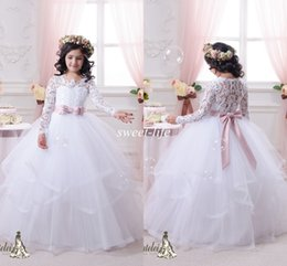 Wholesale White Pageant Sash - Vintage Lace Long Sleeves Flower Girls Dresses Ball Gown Tutu 2015 Blush Sash Ruffles Floor Length Girls Pageant Dress Kids Communion Gowns
