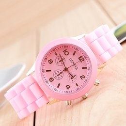 Wholesale Womens Jelly Silicone Watches Wholesale - wholesale popular geneva silicone rubber jelly candy watches unisex mens womens ladies colorful rose-gold dress quartz watches