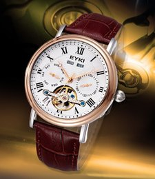 Wholesale Watch Eyki Mechanical Automatic - fully Automatic Mechanical mens classic business wrist Watches men top Luxury Brand Genuine Leather coffee band Roman numbers male clock