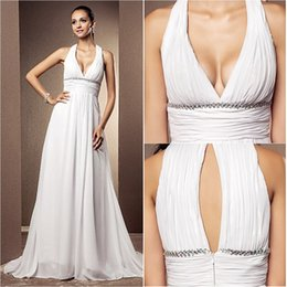 Wholesale Dramatic Train Wedding Dress - 2016 New Fashion Popular Free Shipping White Court Train Empire V-neck Chiffon Sheath Dramatic Wedding Dresses 255