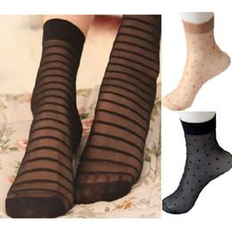calcetines de lunares niñas Rebajas Al por mayor-1 par Lady Womens Girls Striped / Polka Dots patrón tobillo calcetines Nylon Spandex calcetines tobillo Calcetines cortos