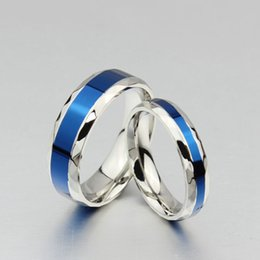 Wholesale Titanium Band Ring Blue - ORSA New Arrival Romantic Couple Rings High Quality Titanium Steel Blue Fashion Lovers Party Rings OTR56