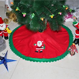 Wholesale Fabric Christmas Tree Ornament - Wholesale- New 90cm Red Christmas Tree Skirt Santa Claus Tree Skirt Christmas Scene Non-woven Fabric Home Decorations Supplies