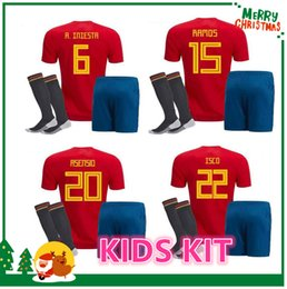 Wholesale Kids Shirts Sale - 2018 Spain kids kit Jersey ISCO PIQUE SERGIO RAMOS A. INIESTA M. ASENSIO THIAGO MORATA soccer child boy shirt Football uniforms sales Spain