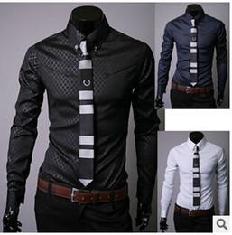 Wholesale Black Designer Mens Dress Shirts - Hot sale men Slim business blouse cotton mens designer clothes turn-down collar tommis shirts fashion Obscure argyle dress shirt