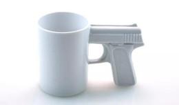 Wholesale Gun Handle Coffee Mug - Creative Gun Style Handle Ceramic Coffee Water Mug Cup 400ml Funny creative pistol shape ceramic cup ceramic cup