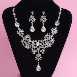 Wholesale Bridal Jewelry Sets Korean - 2015 Hot Crystal Rhinestone Bridal Necklace Earrings Set Korean Style Wedding Adjustable Pendant Necklace Jewelery Set Bridal Accessories