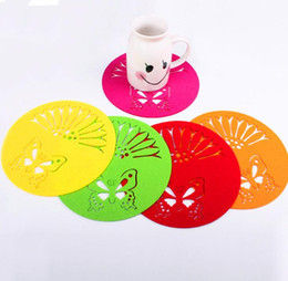 Wholesale Dinners Coaster - Peach Blossom Shaped Felt Coasters Mat Against Hot Pad Non Slip Placemat Dinner Drink Placemat Tableware KKA3441