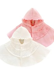 Wholesale Princess Hooded Cape - Lace Princess Shawl Baby Girls Flower Ruffle Hooded Poncho Cute Infant Outwear Winter Plus Thick Toddler Cape C2500