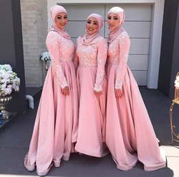 Wholesale Muslim Dresses For Weddings - Islam Muslim 2017 Long Bridesmaid Dresses With White Applique Pink Jewel Long Sleeves Guest Dress For Wedding A-Line Custom Made Party Gown