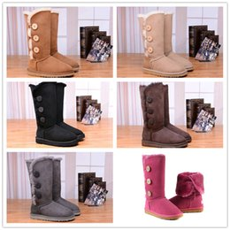 Wholesale Cheap Stretch Boots - 2018 Cheap Sale Australian classic genuine leather wool fur lined Ankle Boot suede women winter snow boots bailey bow navy brown US 5-10