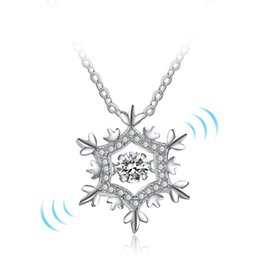 Wholesale Diamond Necklace Pendant Designs Silver - Snowflake Design Rotatable Dancing Diamonds 925 Sterling Silver Pendants Necklaces Charm CZ Stones Jewelry For Women