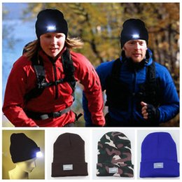 Wholesale Grill Fitting - LED Glowing Winter Beanies with 5 Led Flash Light Novelty Led Hat for Hunting Camping Grilling 13 Colors YYA887