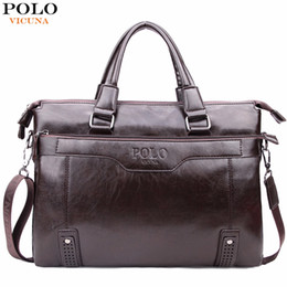 Wholesale Bag Men High Capacity - VICUNA POLO High Capacity Hollow Out Bottom Men's Leather Briefcase Bag For 14'' Laptop Vintage Business Leather Mens Handbags