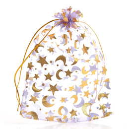 Wholesale Star Organza Gift Bags - 2015 NEW 100 PCs Organza Wedding Gift Bags&Pouches Star Moon Purple 18cmx13cm (Over $120 Free Express)