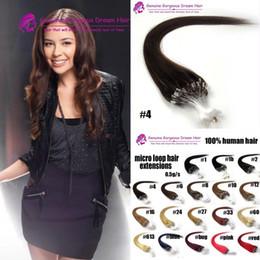 Wholesale Micro Bond Hair Extensions - 16-24inch Brazilian Virgin Hair Loop Micro Ring Hair Extensions #1#2#4 and Blond Hair Straight hair 0.5g strand,100s pack