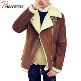 Wholesale Leather Jacket Blue Man - Fall-Turn-down Collar Woolen Liner Man Jacket Motorcycle Leather Cool Outerwear Thicken Warming Fashion Men Parkas Zipper Coat