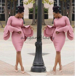 large lighted picture Promo Codes - Aso Ebi African Short Cocktail Prom Dresses with Floral Long Sleeves 2018 Plus Size Large Petals Women Short Occasion Evening Wear Gowns