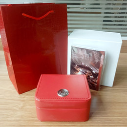 Wholesale Luxury Watch Boxes For Men - Luxury new red for omega box watch booklet card tags and papers in english watches Box Original Inner Outer Men Wristwatch box