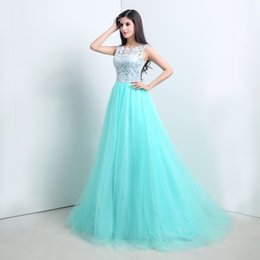 Bilder grüne prom kleider online-2015 Mint Green Lace Prom Kleider Eine Linie Jewel Capped Sleeve Abendkleider Actural Bild 100% Pageant Kleider
