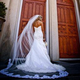Wholesale Soft White Long Bridal Veils - Gorgeous 2015 Cathedral Veil Long One Layer Soft Tulle Cut Edge Vintage Lace Appliques Bridal Veils Wedding Accessories White Ivory