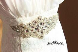 Wholesale Clear Beaded Sash - Wedding Accessory Luxury Crystal Beading Organza Ribbon Wedding Dress Belts Cheap Clear Shining Crystal Bridal Sash Belt Free Shipping