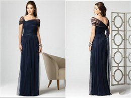 Wholesale Cheap Custom Made Bridemaids Dress - Kate Middleton New Arrival Dark Navy Blue Bridesmaid Dresses Tulle Cap Sleeves Floor Long Pleated A Line Bridemaids Wedding Party Dess Cheap