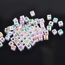Wholesale Cube Cap - Wholesale-Wholesale!hot- White Mixed Letter  Alphabet Cube Acrylic Pony Beads Fit Jewelry making 6mm, 1000Pcs YL1004