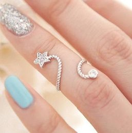 Wholesale Settings For Jewellry - Trendy Imitation Rhinestone stars finger flower engagement Rings For Women Wedding Crystal Jewellry Adjustable Ring bague femme