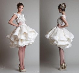 Wholesale white asymmetrical skirt - Krikor Jabotian Short Lace Wedding Dresses 2017 Ivory Bateau Cap Sleeves Backless knee length A Line Organza Wedding Dresses