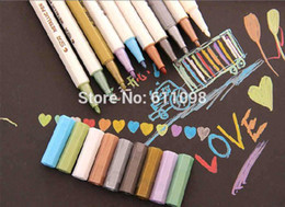 Wholesale Paint For Pottery - DHL shipping 3000pcs stationary metallic color pen decoration paint markers for DIY photo album wedding glass pottery 0923#23