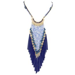 Wholesale Sweater Made Hand - Women Dress Fashion Accessories Multi Layer Beaded Tassels Pendant Sweater Long Chain Hand Made Statement Necklace N3402