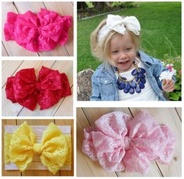 Wholesale Head Bands For Girls - Fashion Headband Baby Girl Lace Hair Accessories Kids Lace Bowknot Head Band 7 Colors For Choose
