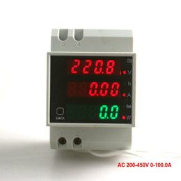 Wholesale Kwh Voltage Meter - Digital Voltage Amp Meter With Working Time Din Rail LED Active Power w Factor Display Range AC 200--450V 0-100.0A Energy KWH