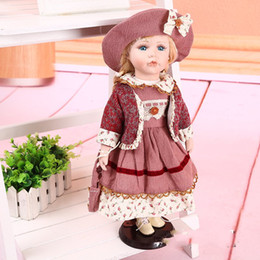 Wholesale Vintage Baby Dolls - Vintage Ceramic Porcelain Doll 40cm with Metal Stand Dragonmart 2005 Collectible
