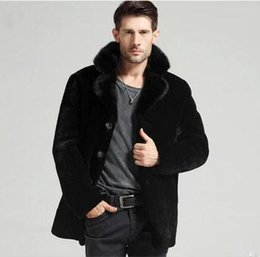 Wholesale Down Jacket Mink Collar - Fall-Vintage Cloth Men Faux Mink Fur Winter Coat Casual Business Men Brief Vintage Black Big Size Turn Down Collar Jacket Coat YY1026