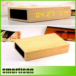 Wholesale Wooden Clock Led - Original NFC+Bluetooth 4.0 Ristime W1 Wooden Alarm Clock Stereo Speaker LED Clock Wall Clock+Temperature Display+USB Charger