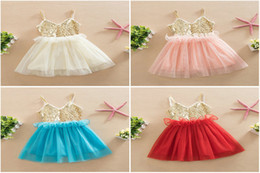 Wholesale Corsets Tutus Dresses - Baby Girls Summer corset Sequin Tulle Princess Dresses Children Cute Lace Ruffle Tutu Evening party vest Dress Kids Clothes