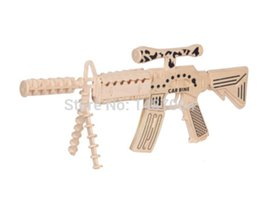 Wholesale Diy Wooden 3d - Wholesale-carbine model 3d puzzle christmas gift handmade diy wooden model toys intelligence game holiday gift