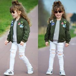 Wholesale Girls Baseball Jackets - 2018 Spring Autumn INS Baby Girls Jacket Kids Long Sleeveled Embroidered Baseball uniform Jackets Coat Children Fashion Casual Clothes