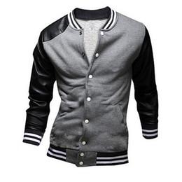 Wholesale Roupas Baseball - FG1509 Men Baseball Jacket 2015 New Brand Fashion Men's Fitness Leather Sleeve Outdoors Sport Chaqueta Hombre roupas masculinas ZHY1273