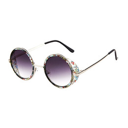 Wholesale Spectacle Frames Lady - Fashion Style Round Mirror Lens Sunglasses For Women Trendy Ladies Circle Frame Metal Eyeglasses Spectacles Eyewear Brand New Glasses S729