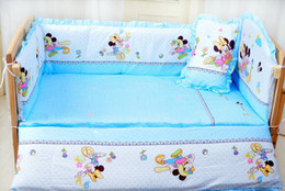 Wholesale Mouse Set Baby - Baby crib bedding set mikey minnie mouse bedding set 100% cotton bedclothes bed decoration include pillow bumpers mattress 5pcs